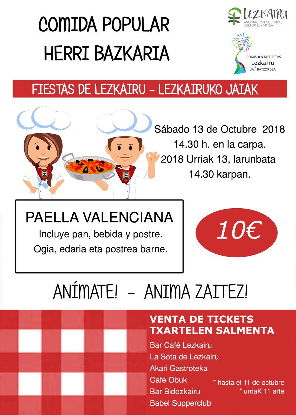 Fiestas Lezkairu 2018: comida popular