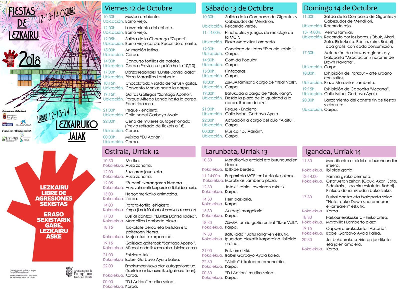 Fiestas Lezkairu 2018: programa