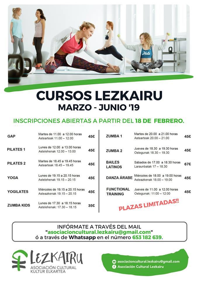Inscripciones actividades Asociación Cultural Lezkairu