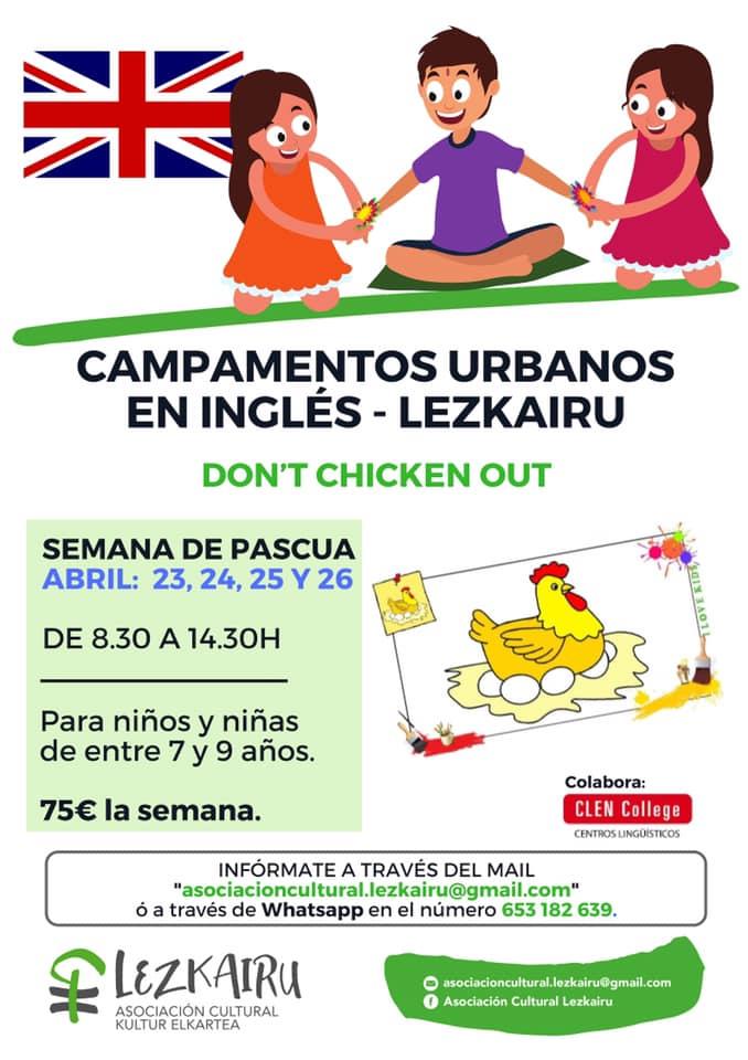 Campamento urbano en inglés para la semana de Pascua