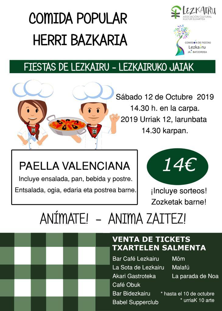 Fiestas Lezkairu 2019: comida popular