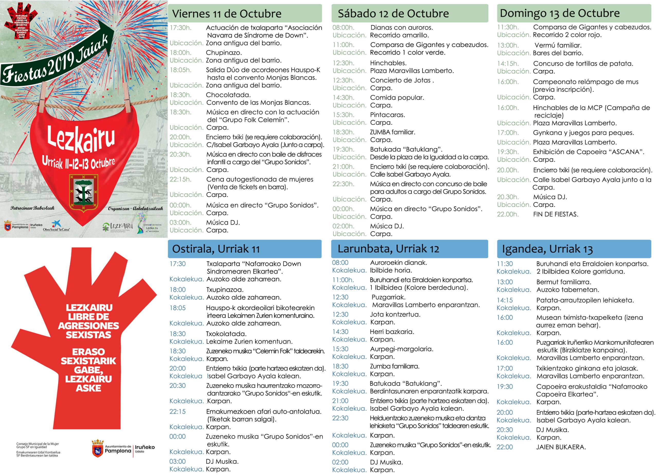 Fiestas Lezkairu 2019: programa