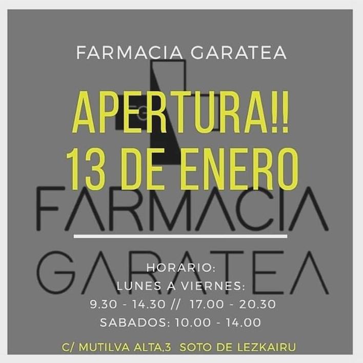 Apertura de farmacia Garatea mañana lunes 13 de enero