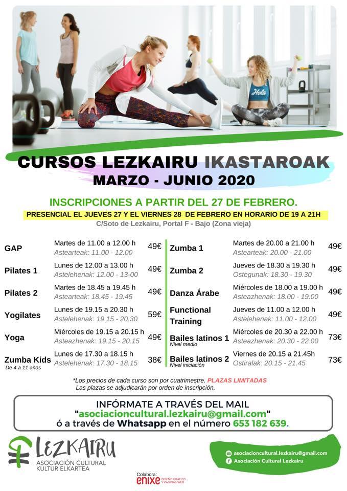 Plazas libres para los cursos organizados por la Asociación Cultural Lezkairu