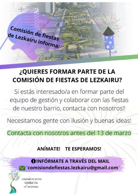 Comisión de Fiestas Lezkairu 2020