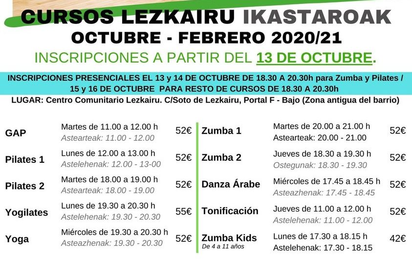 Oferta deportiva octubre-febrero de la Asociación Cultural Lezkairu