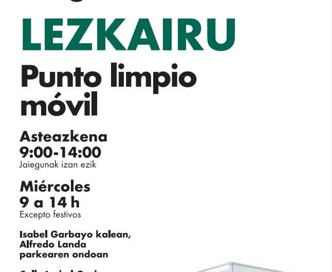 Lezkairu tendrá punto limpio móvil los miércoles de 9 a 14h